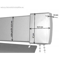 Kryt horního profilu žaluzie Isoline ISSO. Zakrývá pravý horní převod / uchycení žaluzie.