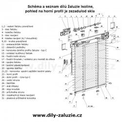 Držáček pro zajištění ovládacího kuličkového provázku žaluzii, seznam dílů pro opravu