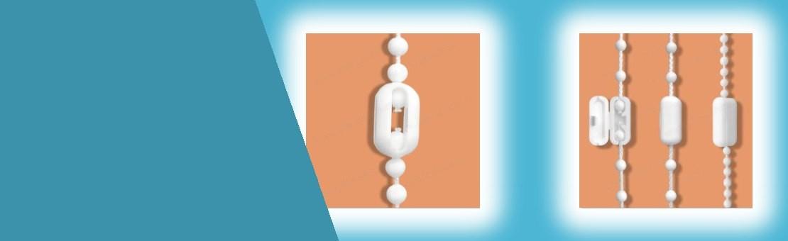 Spojky pro spojení kuličkových provázků  žaluzií a rolet.